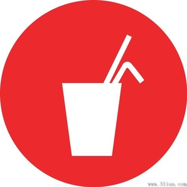 red background beverage icons vector