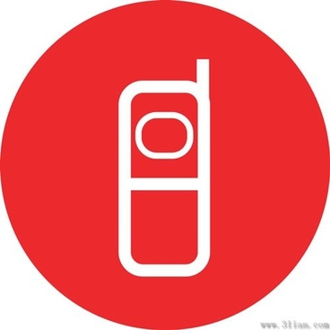 red background phone icon vector