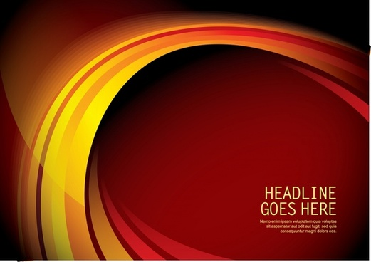 decorative background shiny red yellow curves arch design