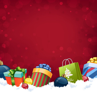 red background with christmas gift vector