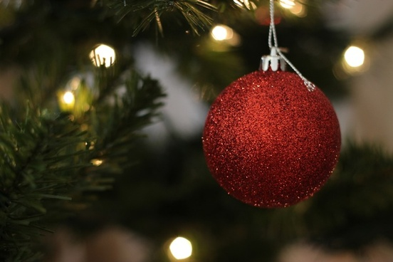 red ball ornament hanging on christmas tree