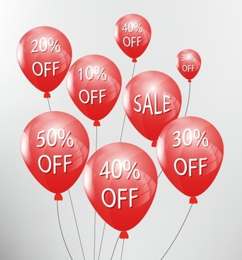 red balloon with sale elements vector