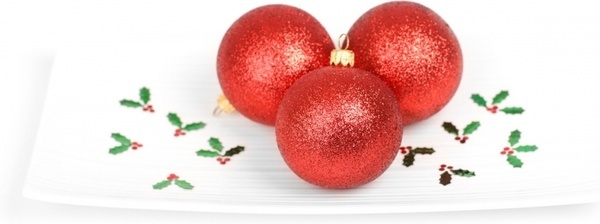 red baubles on plate