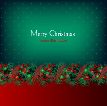 red berries christmas garland ribbon vector vector