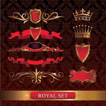 royal design elements goden ribbon shield crown icons