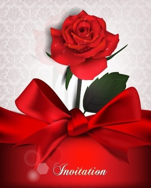 red bow and red background invitation cards vector