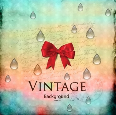 red bow and water drop with vintage background