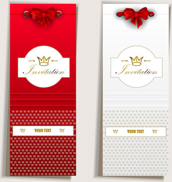 red bow label cards vector