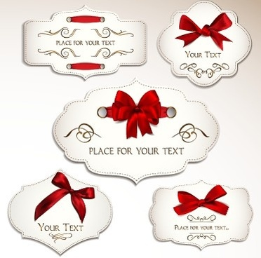 red bow labels cards vector