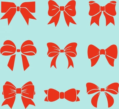 red bows icons collection various flat icons