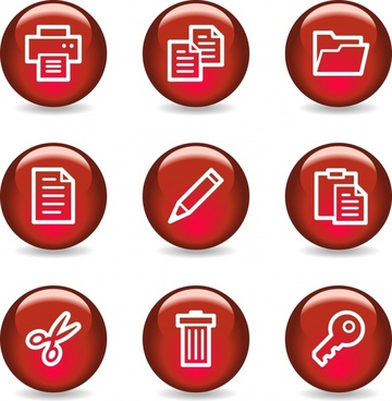 red business icons vector