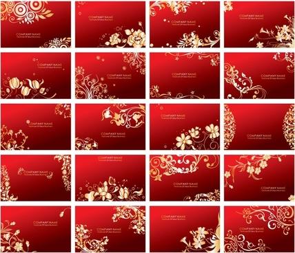 card templates collection elegant golden floral red design