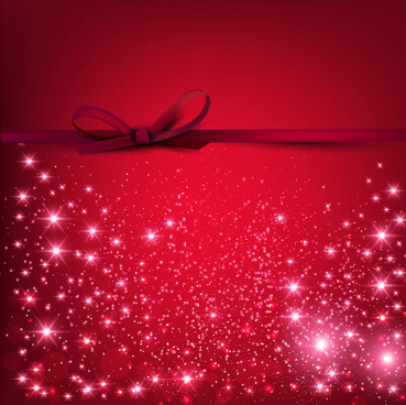 red christmas background with beautiful bow vector