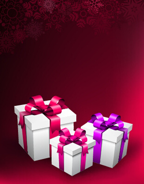 red christmas background with gift vector