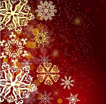 Red christmas background with snow