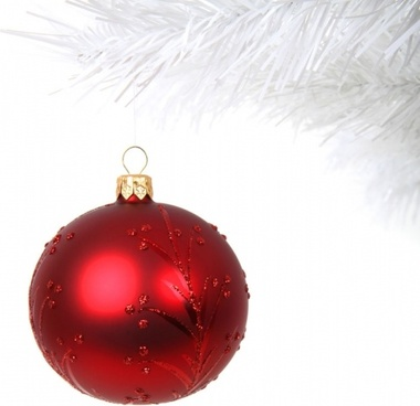 red christmas ball on branch