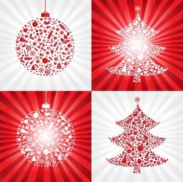 red christmas ball with christmas tree - vector