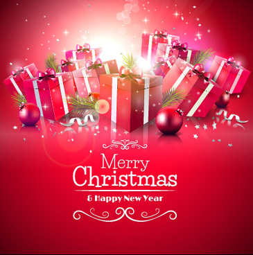 red christmas gift box vector background art