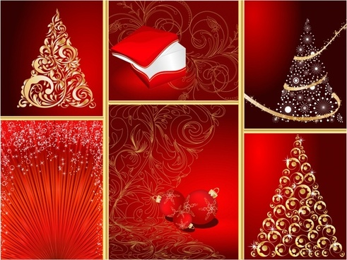 christmas background templates sparkling decorative elements golden red