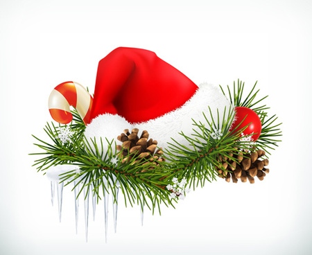 Red christmas hats and needles vector illustration