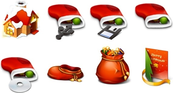 Red Christmas icons pack