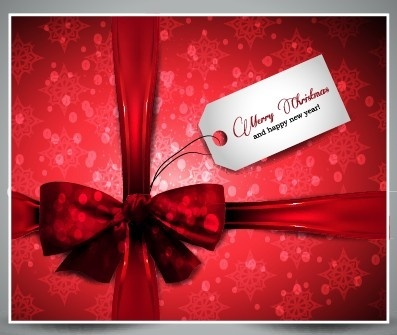 red christmas present cards vector