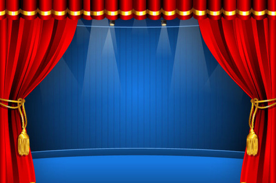 Red Curtain Elements Vector Background