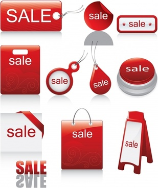 sales tags templates red white modern shapes