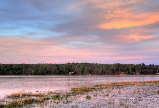 red dusk over the river in the upper peninsula michigan