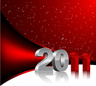 2011 new year background modern sparkling 3d design