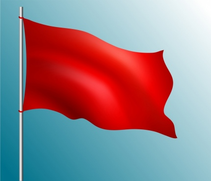 red flag icon waving style blank ornament