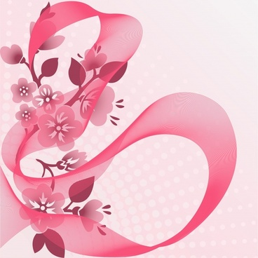 floral background blurred pink dynamic ribbon decor