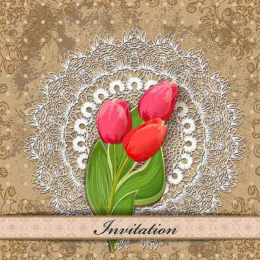 red flower invitations cards