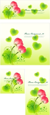 red flower with green heart vector