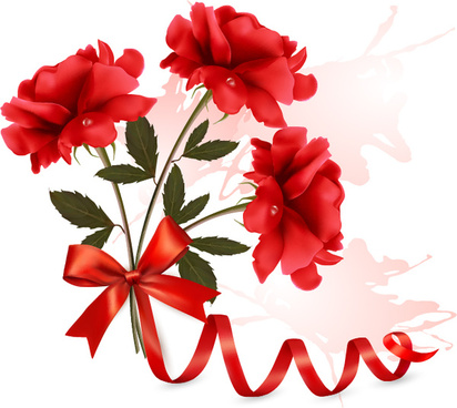 red flower with ribbon design vector