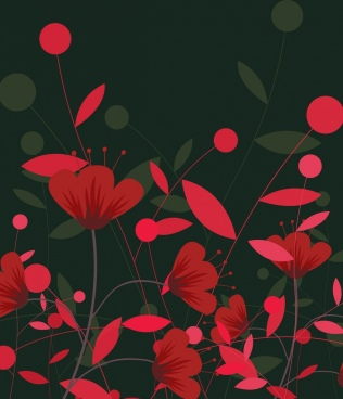 red flowers painting dark decor