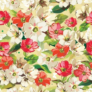 flowers background colorful retro handdrawn sketch