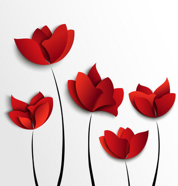 red flowers vector art