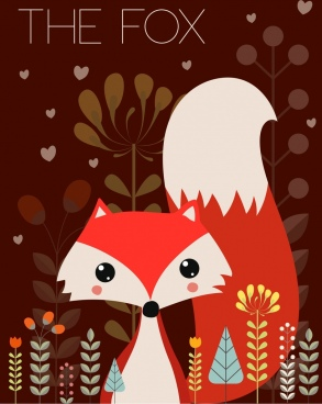 red fox background cartoon style plants backdrop