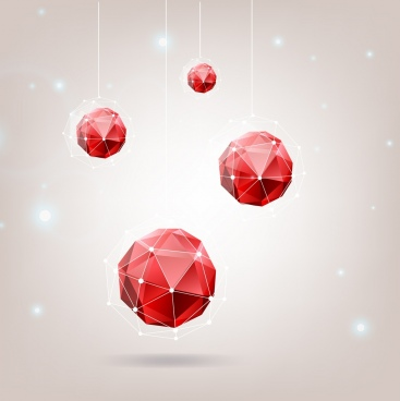 red gems background 3d polygonal decoration hanging objects