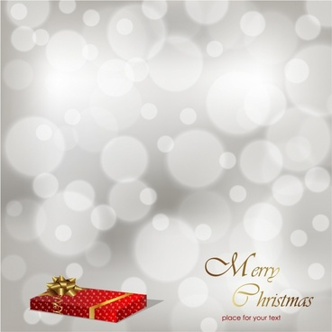 Red gift on the gray christmas background