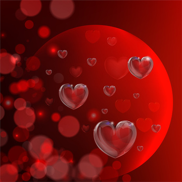 red glossy heart background