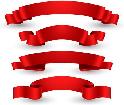 red glossy ribbon set