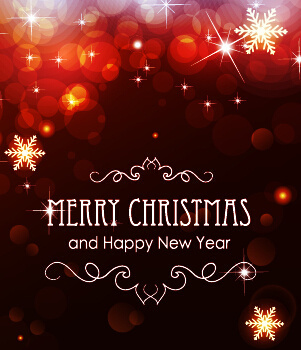 red halation christmas with new year background vector