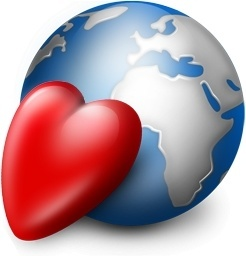 Red heart and earth globe