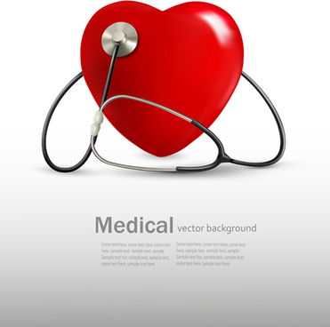 red heart and stethoscope design vector