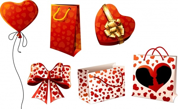 gift design elements heart shapes knot bags sketch