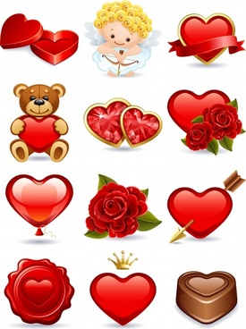 valentine symbols icons shiny heart rose angel sketch