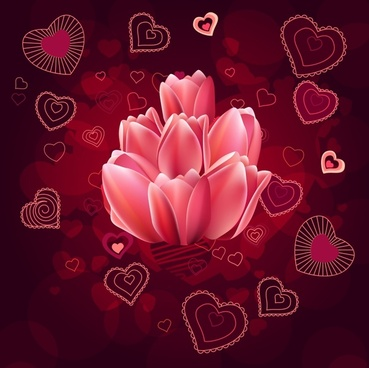 valentine background tulip hearts decor modern red blur