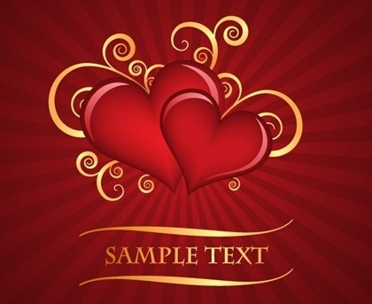 valentine background curves hearts decoration red backdrop